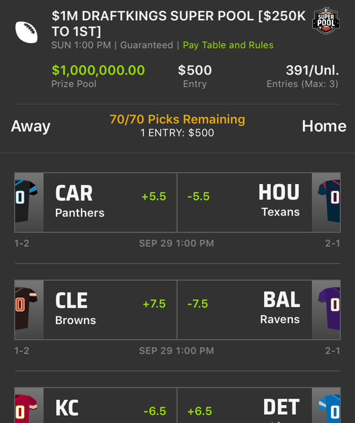 draftkings super pool nfl betting game