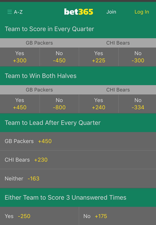 bet365 nj prop bets nfl