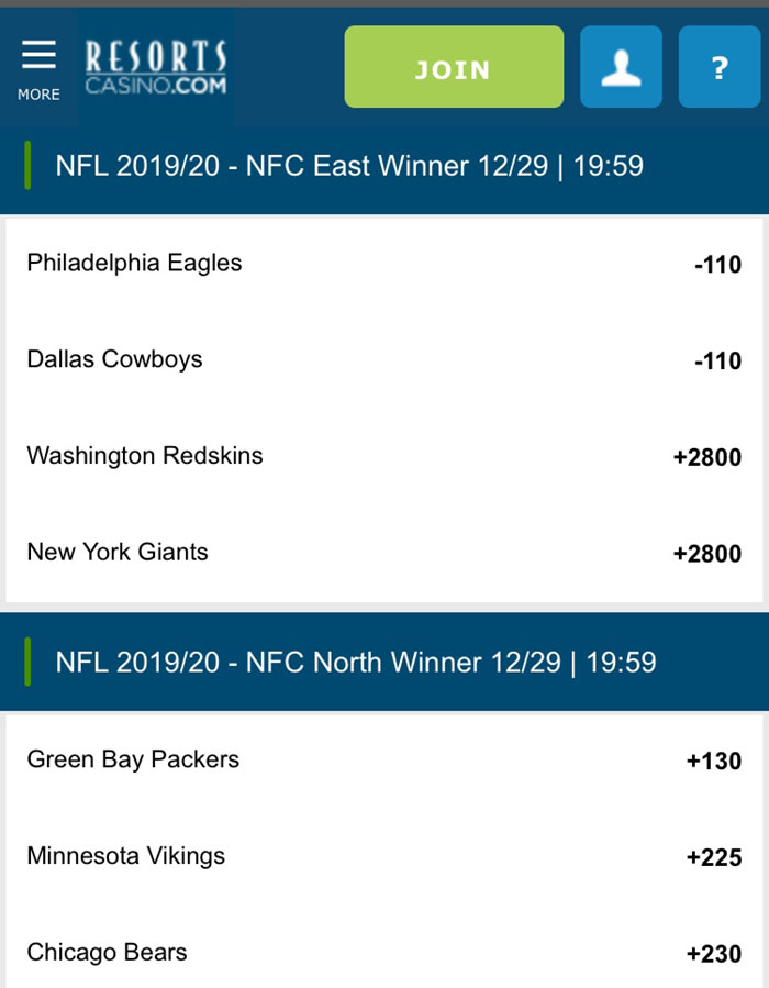 division winners nfl resorts sportsbook nj