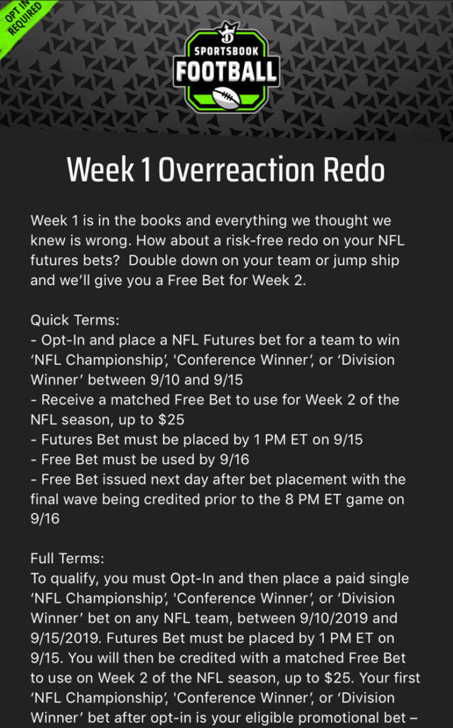 draftkings football redo promo