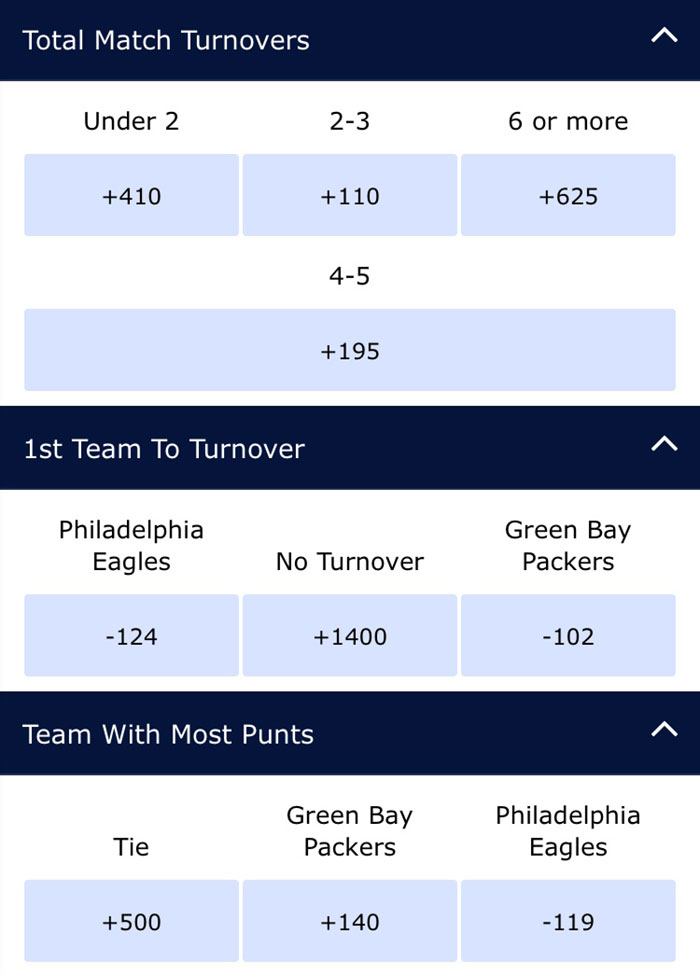 eagles packers odds william hill
