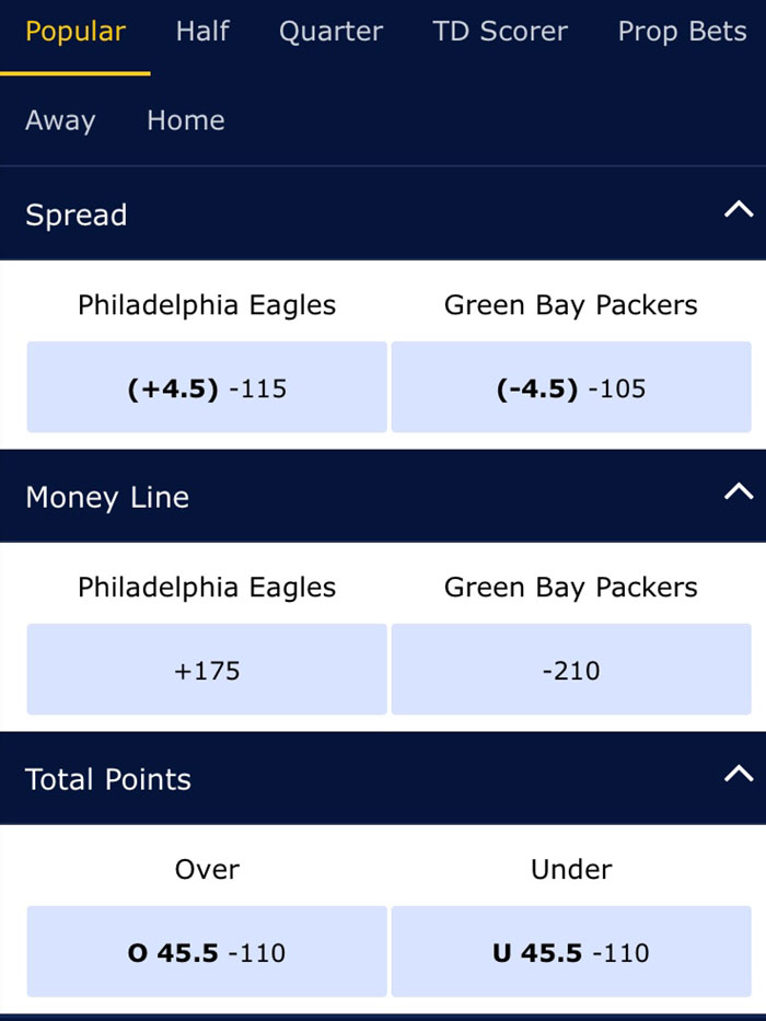 eagles packers odds william hill nj sportsbook