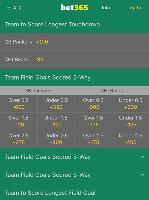 nfl field goals lines bet365