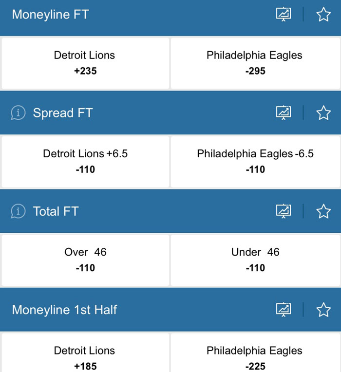 eagles lions odds resorts online sportsbook