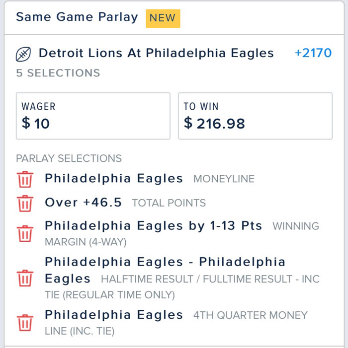 same game parlay bet fanduel sportsbook nfl