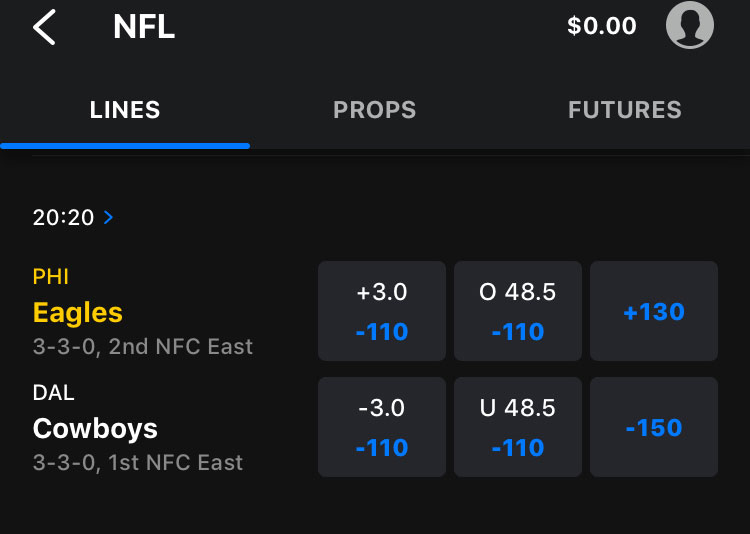thescore bet nj odds eagles cowboys