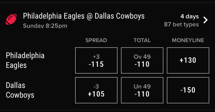 pointsbet nj sports betting eagles cowboys lines