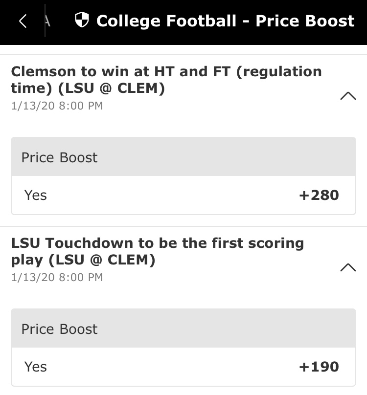NCAAF championship game odds